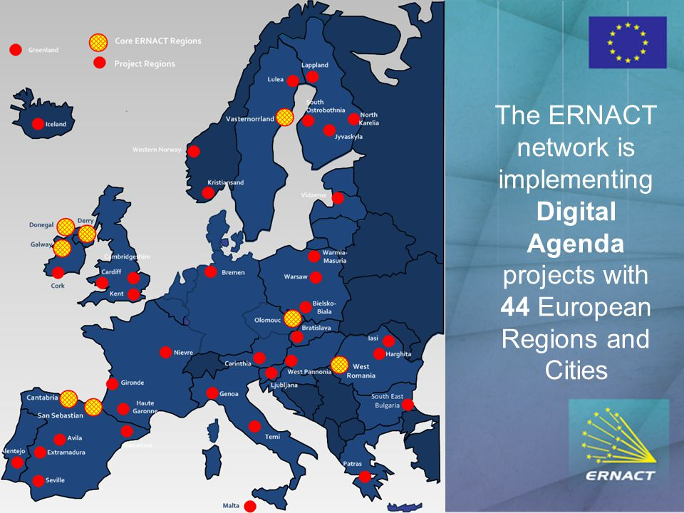 The ERNACT network is implementing Digital Agenda projects with 44 European Regions and Cities
