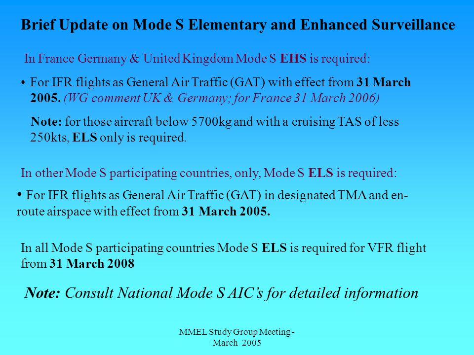 MMEL Study Group Meeting - March 2005 Brief Update on Mode S Elementary and Enhanced Surveillance In France Germany & United Kingdom Mode S EHS is required: For IFR flights as General Air Traffic (GAT) with effect from 31 March 2005.