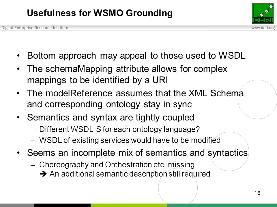 16 Usefulness for WSMO Grounding Bottom approach may appeal to those used to WSDL The schemaMapping attribute allows for complex mappings to be identified by a URI The modelReference assumes that the XML Schema and corresponding ontology stay in sync Semantics and syntax are tightly coupled –Different WSDL-S for each ontology language.
