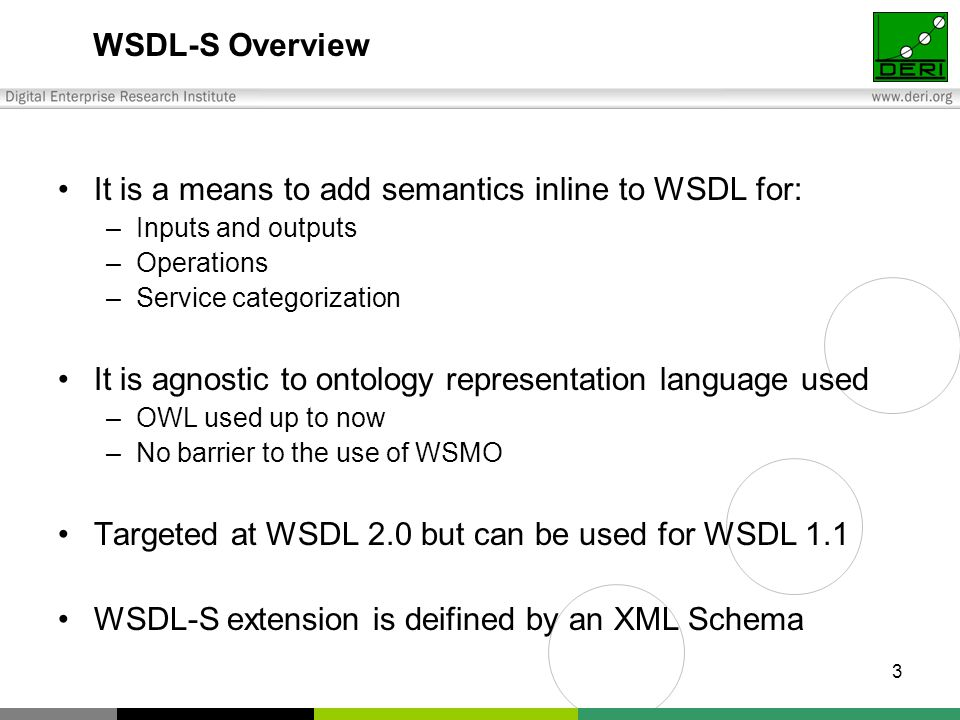 3 WSDL-S Overview It is a means to add semantics inline to WSDL for: –Inputs and outputs –Operations –Service categorization It is agnostic to ontology representation language used –OWL used up to now –No barrier to the use of WSMO Targeted at WSDL 2.0 but can be used for WSDL 1.1 WSDL-S extension is deifined by an XML Schema