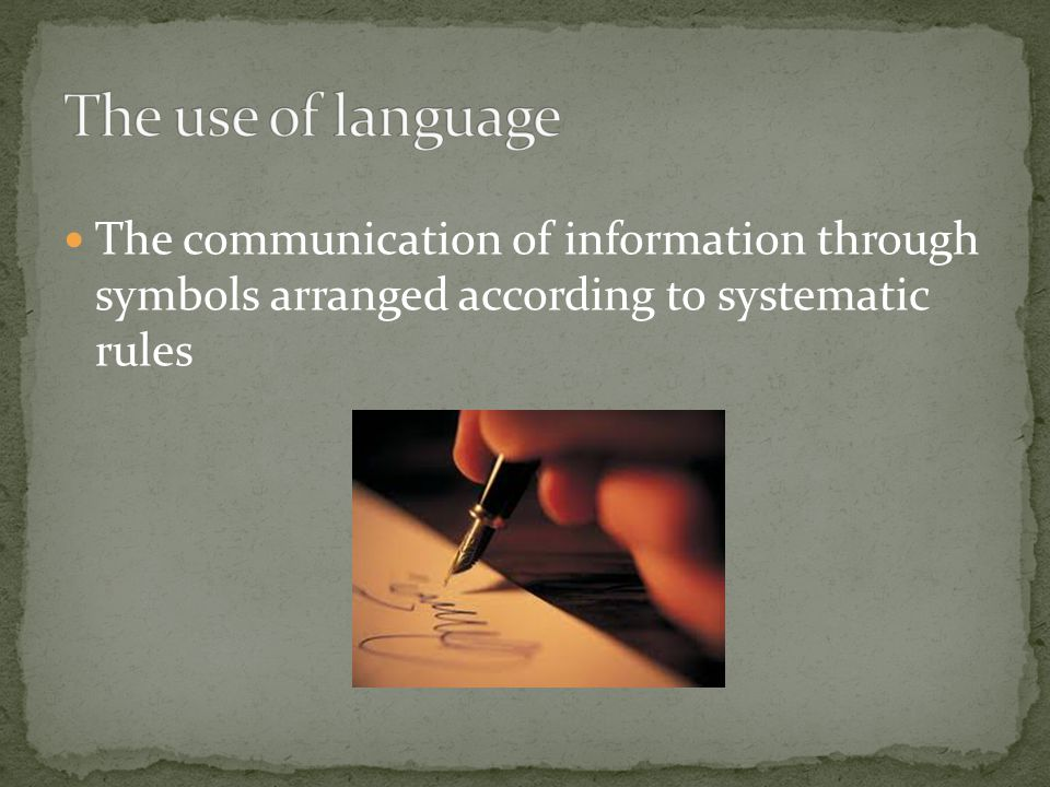 The communication of information through symbols arranged according to systematic rules
