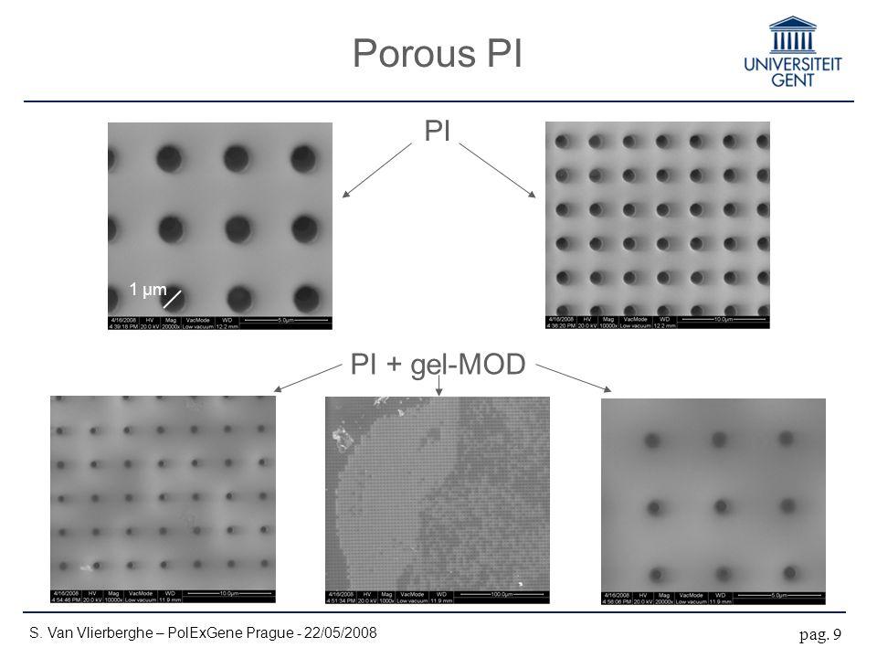 Porous PI S. Van Vlierberghe – PolExGene Prague - 22/05/2008 pag. 9 PI PI + gel-MOD 1 µm