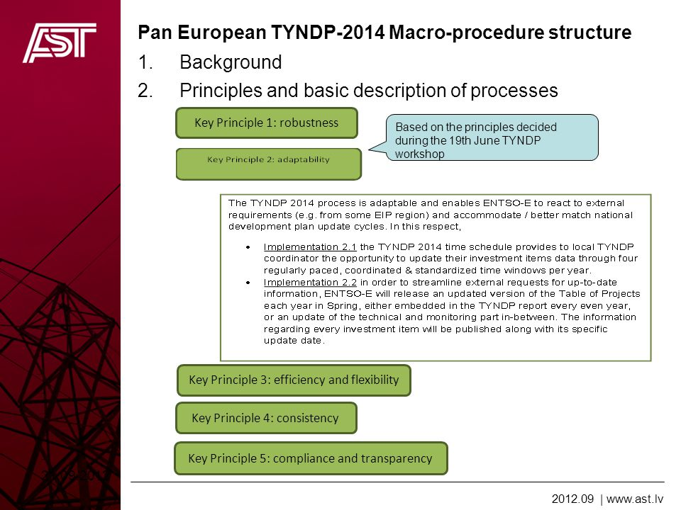2012.09 | www.ast.lv Pan European TYNDP-2014 Macro-procedure structure 21.09.2012 1.Background 2.Principles and basic description of processes Based on the principles decided during the 19th June TYNDP workshop Key Principle 1: robustness Key Principle 3: efficiency and flexibility Key Principle 4: consistency Key Principle 5: compliance and transparency