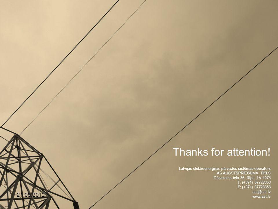 Latvijas elektroenerģijas pārvades sistēmas operators AS AUGSTSPRIEGUMA TĪKLS Dārzciema iela 86, Rīga, LV-1073 T: (+371) 67728353 F: (+371) 67728858 ast@ast.lv www.ast.lv Thanks for attention.