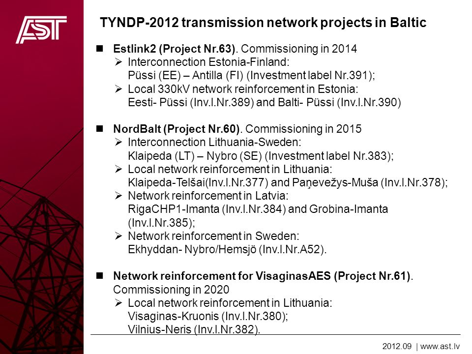 2012.09   www.ast.lv TYNDP-2012 transmission network projects in Baltic Estonian-Latvian third inerconnection (Project Nr.62).