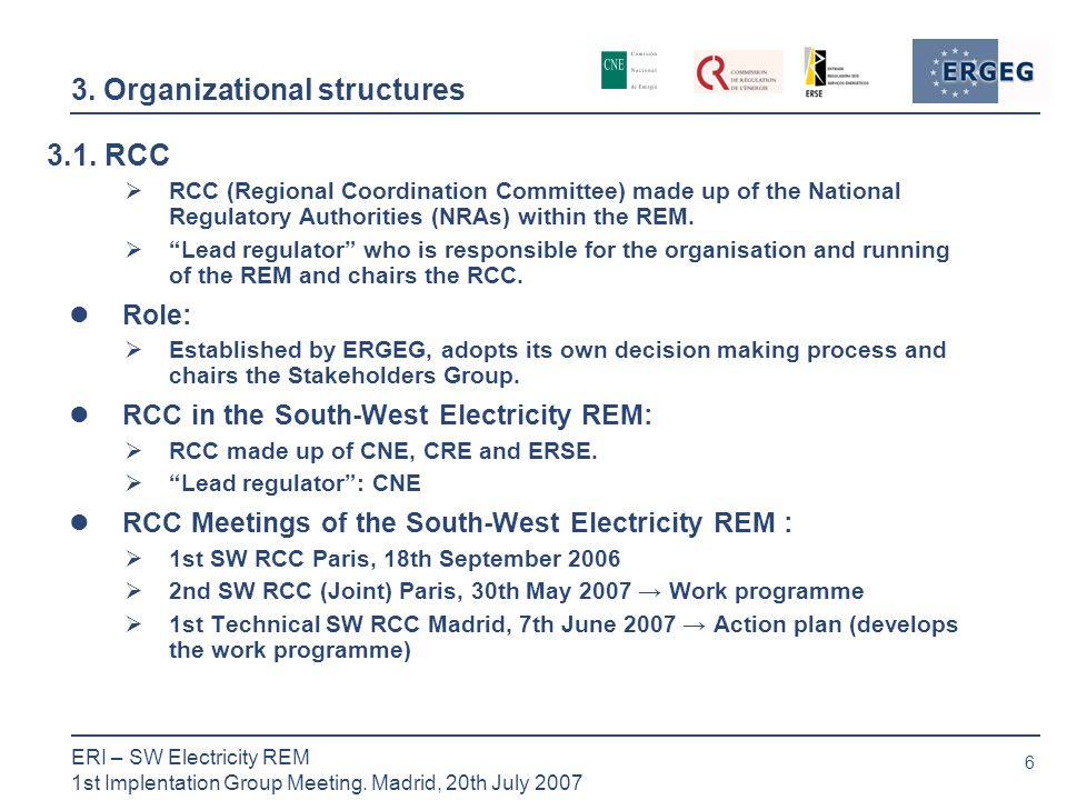6 ERI – SW Electricity REM 1st Implentation Group Meeting.