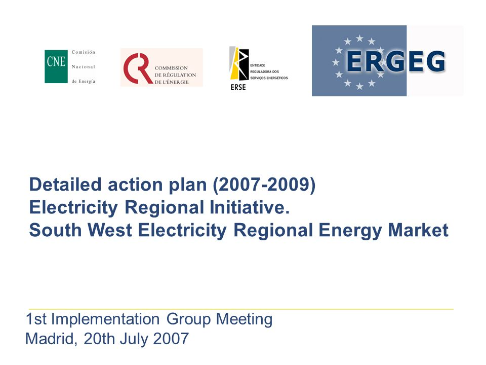 Detailed action plan (2007-2009) Electricity Regional Initiative.