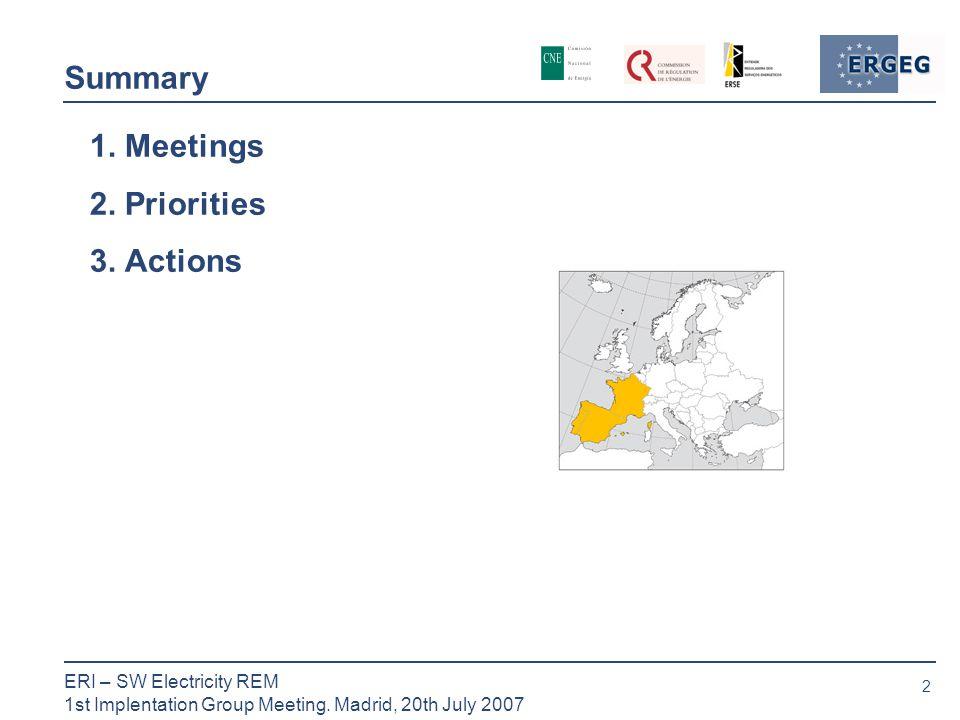 2 ERI – SW Electricity REM 1st Implentation Group Meeting.