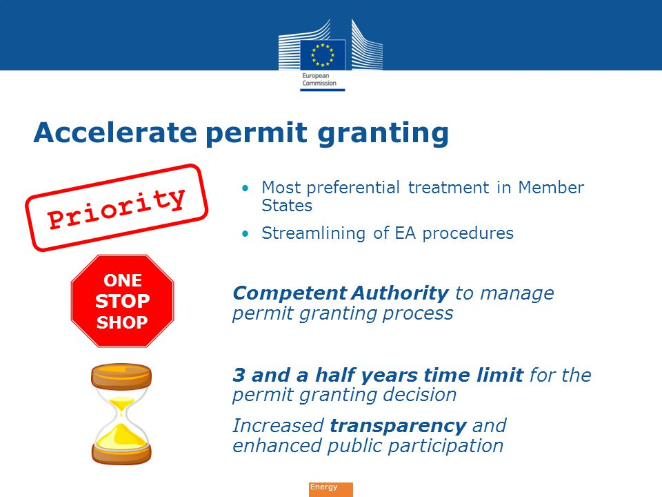 Energy Accelerate permit granting Most preferential treatment in Member States Streamlining of EA procedures Competent Authority to manage permit granting process 3 and a half years time limit for the permit granting decision Increased transparency and enhanced public participation Priority ONE STOP SHOP