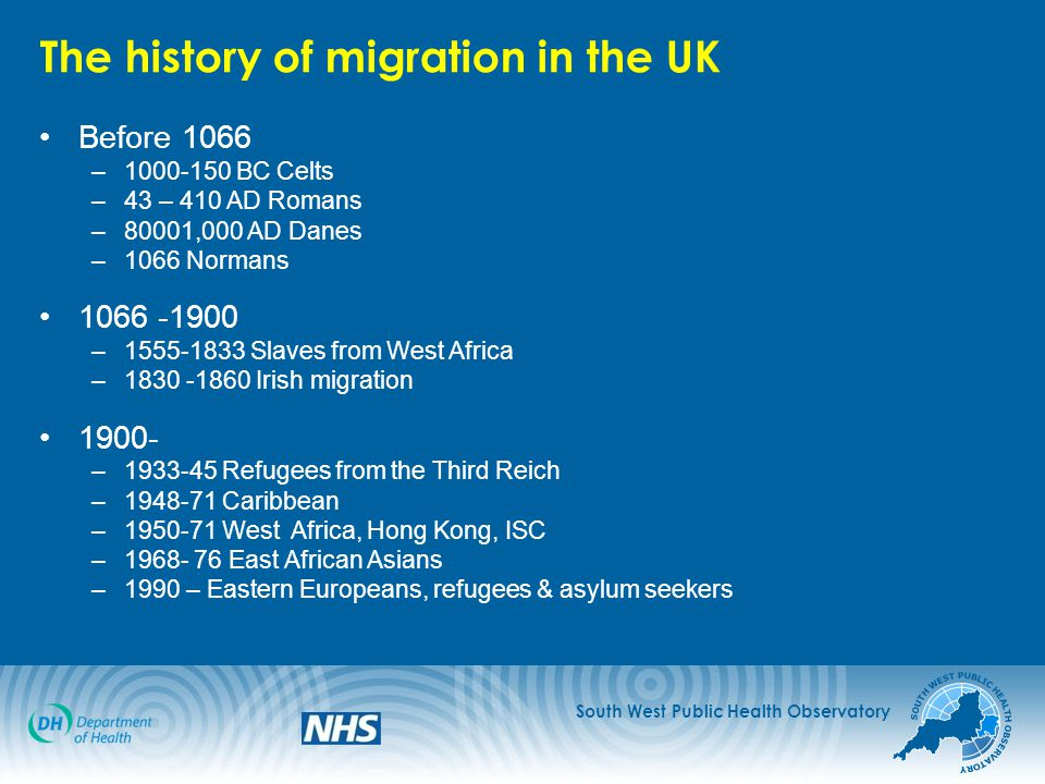 South West Public Health Observatory The history of migration in the UK Before 1066 –1000-150 BC Celts –43 – 410 AD Romans –80001,000 AD Danes –1066 Normans 1066 -1900 –1555-1833 Slaves from West Africa –1830 -1860 Irish migration 1900- –1933-45 Refugees from the Third Reich –1948-71 Caribbean –1950-71 West Africa, Hong Kong, ISC –1968- 76 East African Asians –1990 – Eastern Europeans, refugees & asylum seekers