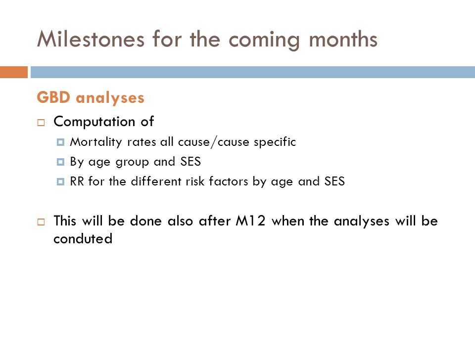 Milestones for the coming months GBD analyses  Computation of  Mortality rates all cause/cause specific  By age group and SES  RR for the different risk factors by age and SES  This will be done also after M12 when the analyses will be conduted