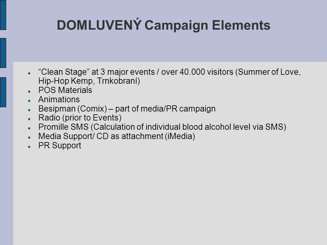 DOMLUVENÝ Campaign Elements Clean Stage at 3 major events / over 40.000 visitors (Summer of Love, Hip-Hop Kemp, Trnkobraní) POS Materials Animations Besipman (Comix) – part of media/PR campaign Radio (prior to Events) Promille SMS (Calculation of individual blood alcohol level via SMS) Media Support/ CD as attachment (iMedia) PR Support
