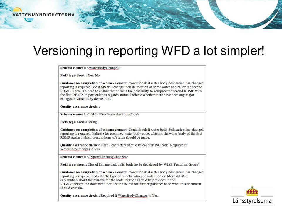 Versioning in reporting WFD a lot simpler!