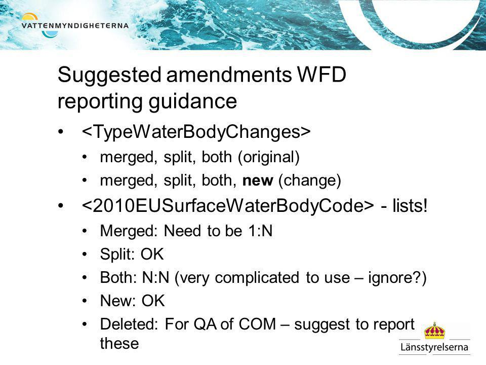 Suggested amendments WFD reporting guidance merged, split, both (original) merged, split, both, new (change) - lists.
