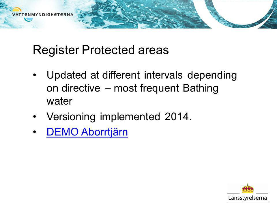 Register Protected areas Updated at different intervals depending on directive – most frequent Bathing water Versioning implemented 2014.