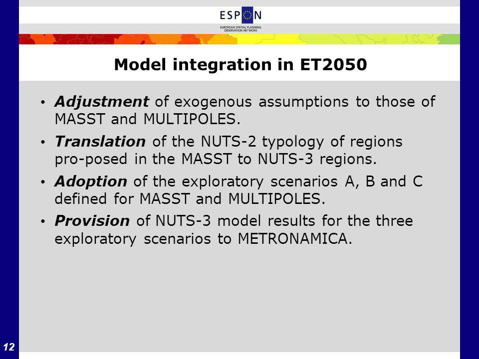 12 Model integration in ET2050 Adjustment of exogenous assumptions to those of MASST and MULTIPOLES.