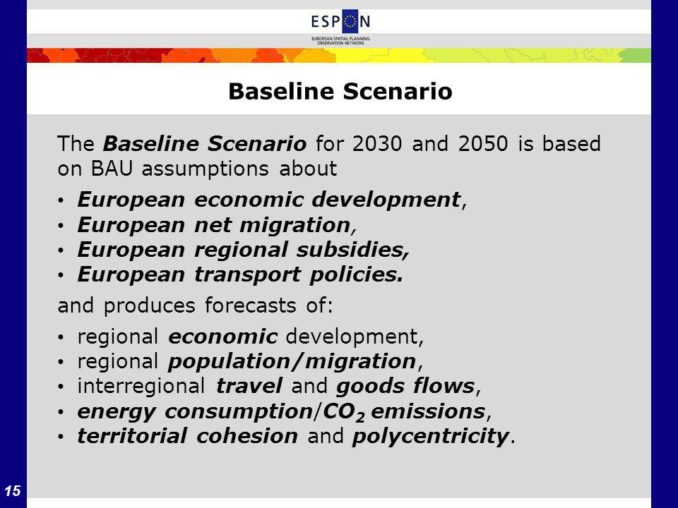 15 Baseline Scenario The Baseline Scenario for 2030 and 2050 is based on BAU assumptions about European economic development, European net migration, European regional subsidies, European transport policies.