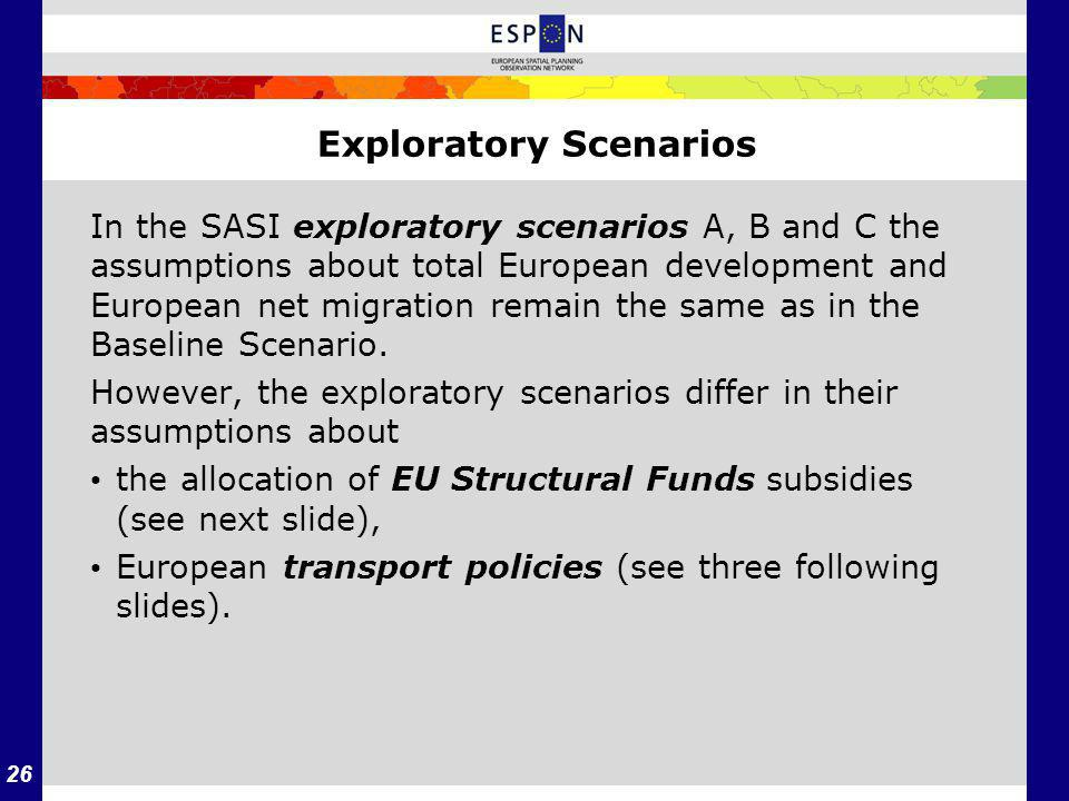 26 Exploratory Scenarios In the SASI exploratory scenarios A, B and C the assumptions about total European development and European net migration remain the same as in the Baseline Scenario.