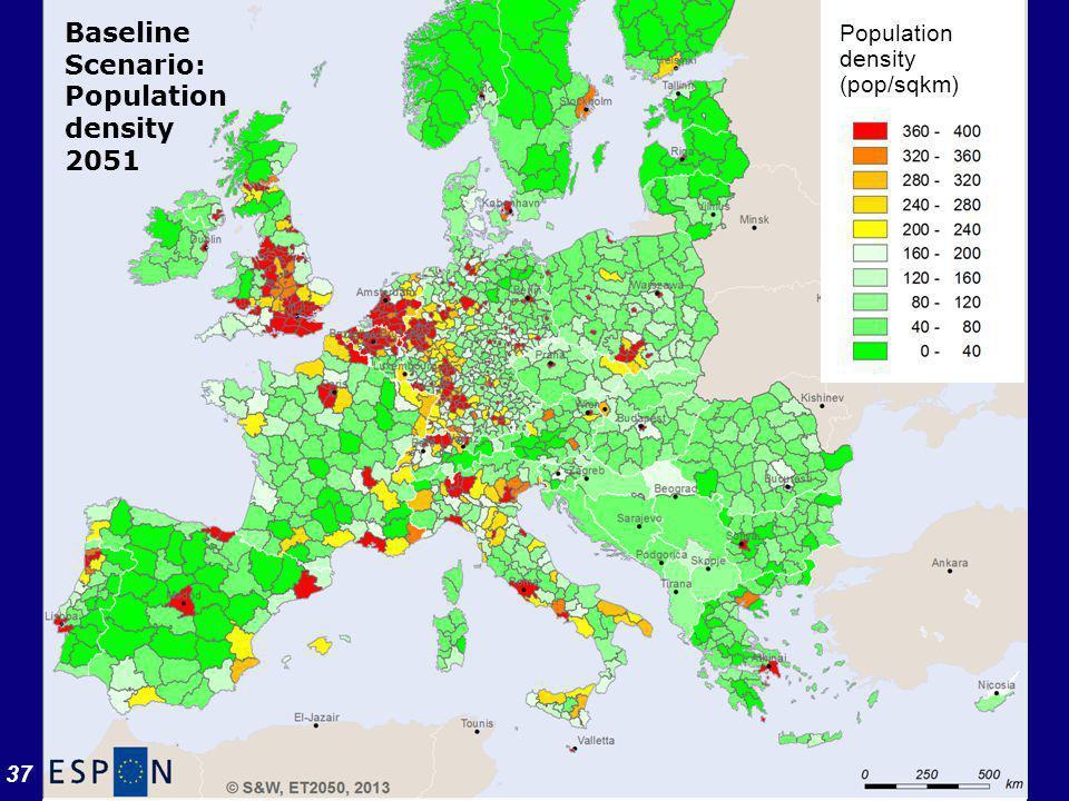 37 Results (2) Population density (pop/sqkm) Baseline Scenario: Population density 2051