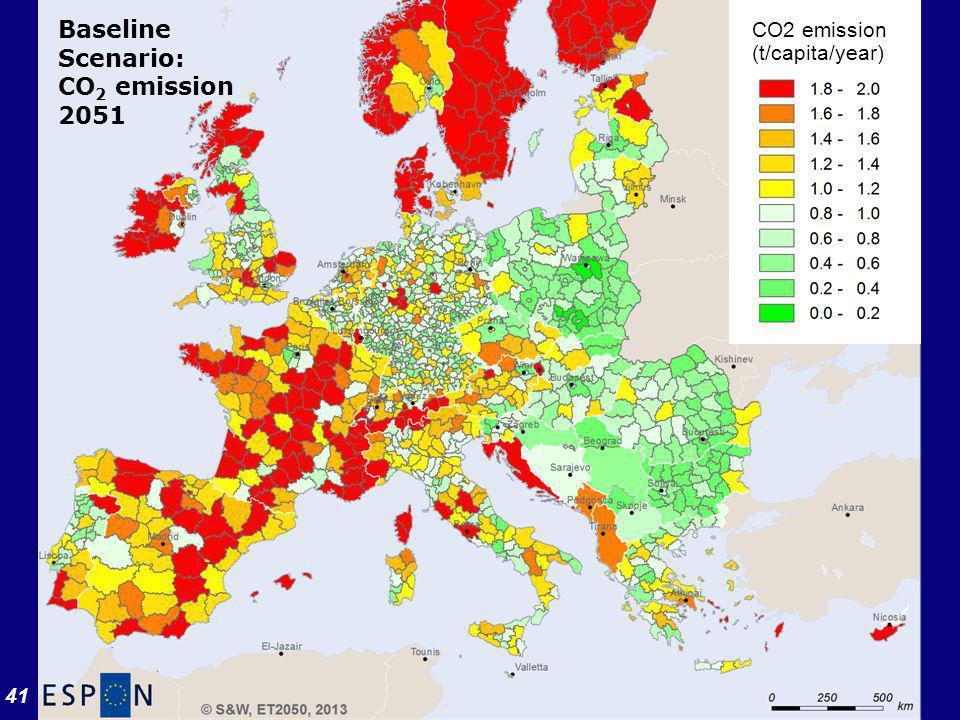 41 CO2 emission (t/capita/year) Baseline Scenario: CO 2 emission 2051