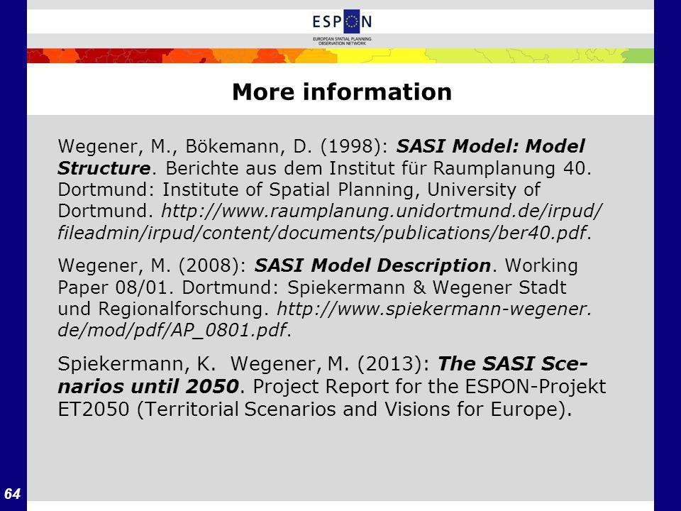 64 Wegener, M., Bökemann, D. (1998): SASI Model: Model Structure. Berichte aus dem Institut für Raumplanung 40. Dortmund: Institute of Spatial Plannin
