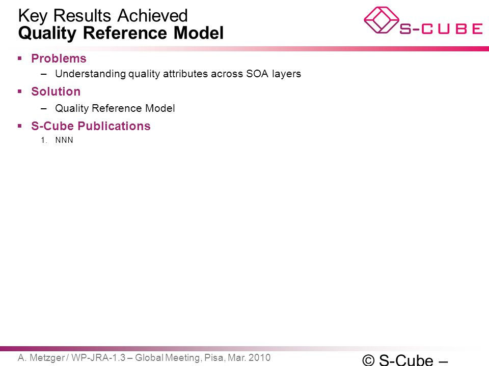 Key Results Achieved Quality Reference Model  Problems –Understanding quality attributes across SOA layers  Solution –Quality Reference Model  S-Cu