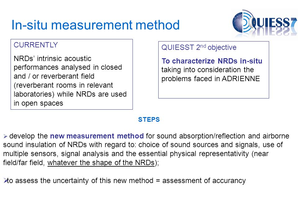In-situ measurement method QUIESST 2 nd objective To characterize NRDs in-situ taking into consideration the problems faced in ADRIENNE STEPS  develop the new measurement method for sound absorption/reflection and airborne sound insulation of NRDs with regard to: choice of sound sources and signals, use of multiple sensors, signal analysis and the essential physical representativity (near field/far field, whatever the shape of the NRDs);  to assess the uncertainty of this new method = assessment of accurancy CURRENTLY NRDs' intrinsic acoustic performances analysed in closed and / or reverberant field (reverberant rooms in relevant laboratories) while NRDs are used in open spaces