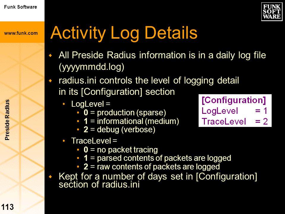 Funk Software www.funk.com Preside Radius 113 Activity Log Details w All Preside Radius information is in a daily log file (yyyymmdd.log) w radius.ini