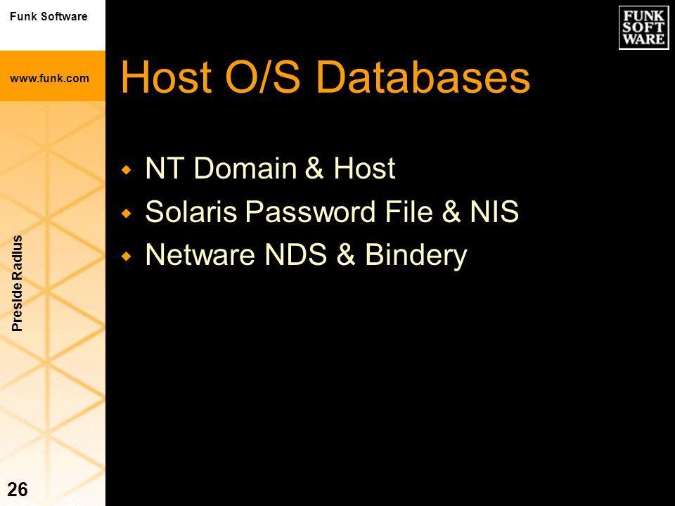 Funk Software www.funk.com Preside Radius 26 Host O/S Databases w NT Domain & Host w Solaris Password File & NIS w Netware NDS & Bindery