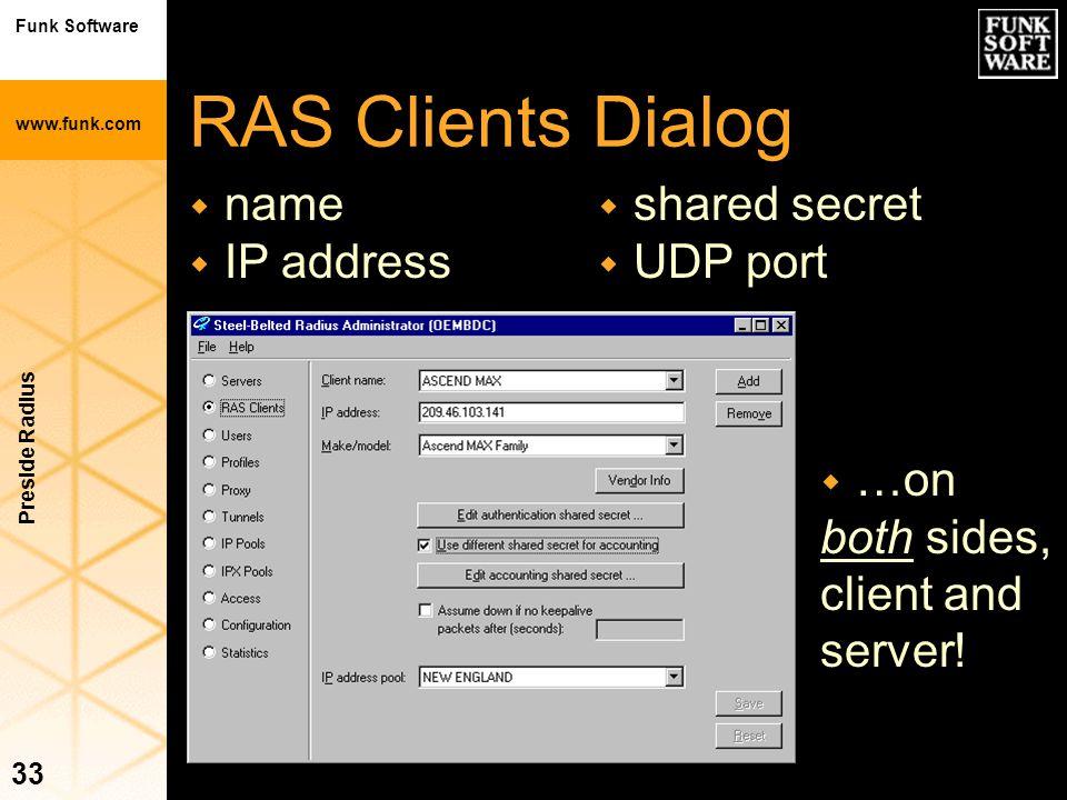 Funk Software www.funk.com Preside Radius 33 RAS Clients Dialog w name w IP address w …on both sides, client and server! w shared secret w UDP port