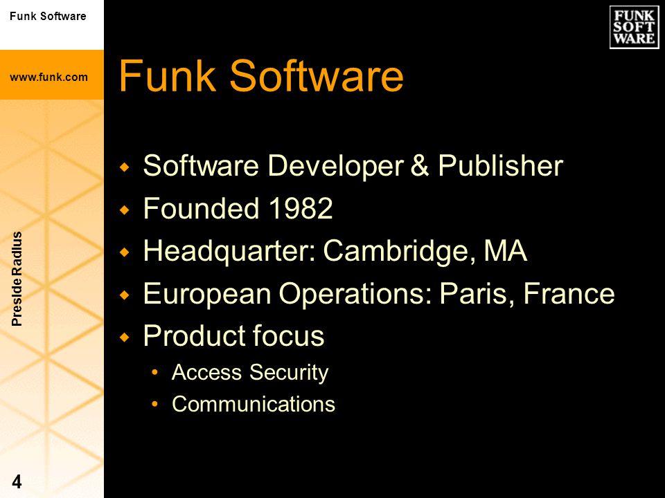 Funk Software www.funk.com Preside Radius 4 Funk Software w Software Developer & Publisher w Founded 1982 w Headquarter: Cambridge, MA w European Oper