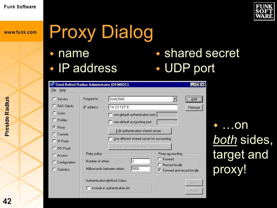 Funk Software www.funk.com Preside Radius 42 Proxy Dialog w name w IP address w …on both sides, target and proxy! w shared secret w UDP port