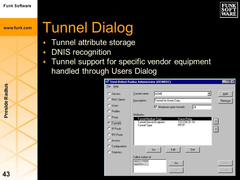 Funk Software www.funk.com Preside Radius 43 Tunnel Dialog w Tunnel attribute storage w DNIS recognition w Tunnel support for specific vendor equipmen