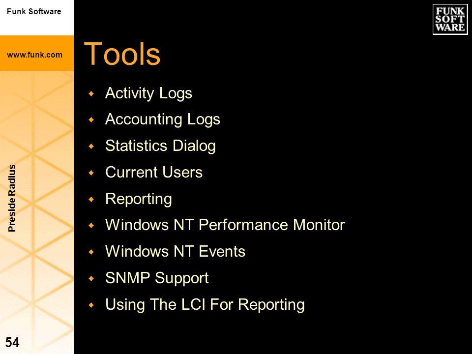 Funk Software www.funk.com Preside Radius 54 Tools w Activity Logs w Accounting Logs w Statistics Dialog w Current Users w Reporting w Windows NT Perf