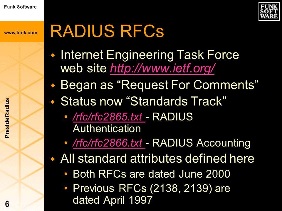 Funk Software www.funk.com Preside Radius 6 RADIUS RFCs w Internet Engineering Task Force web site http://www.ietf.org/http://www.ietf.org/ w Began as