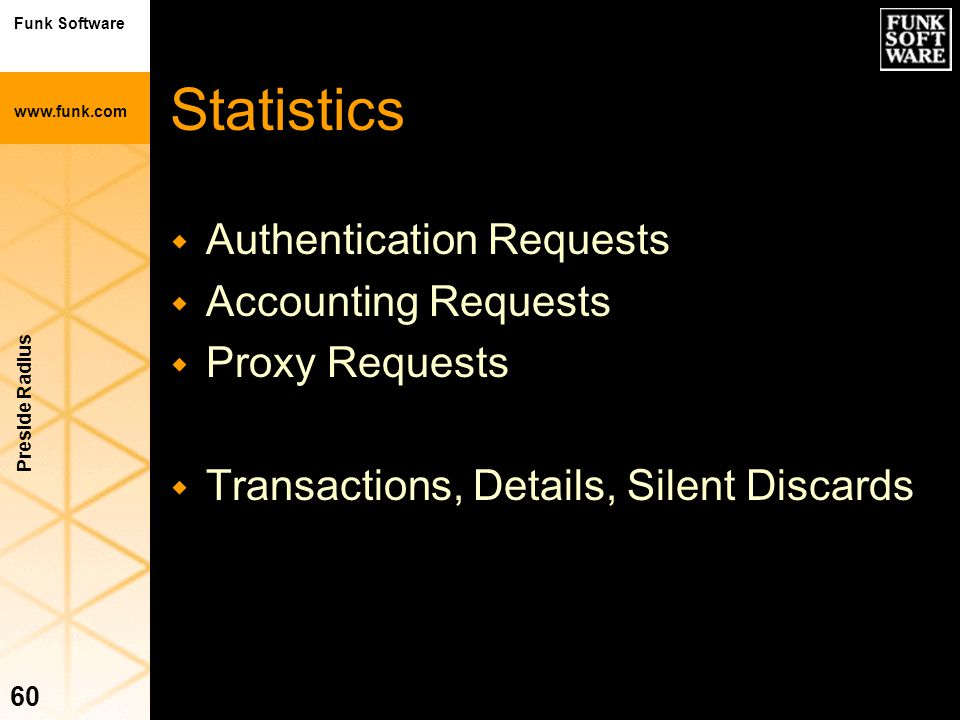 Funk Software www.funk.com Preside Radius 60 Statistics w Authentication Requests w Accounting Requests w Proxy Requests w Transactions, Details, Sile