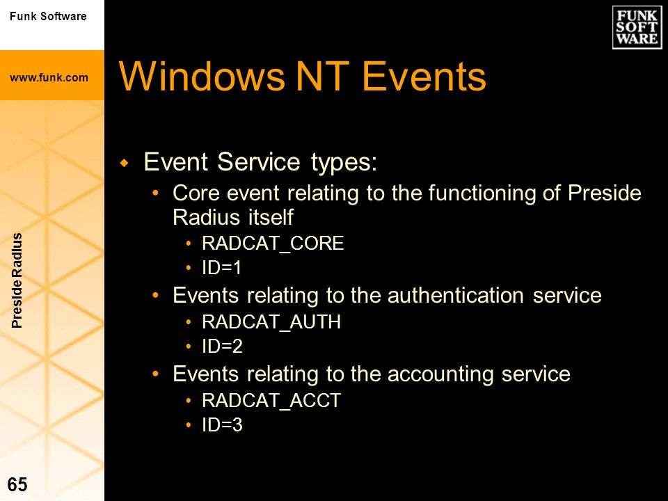 Funk Software www.funk.com Preside Radius 65 Windows NT Events w Event Service types: Core event relating to the functioning of Preside Radius itself