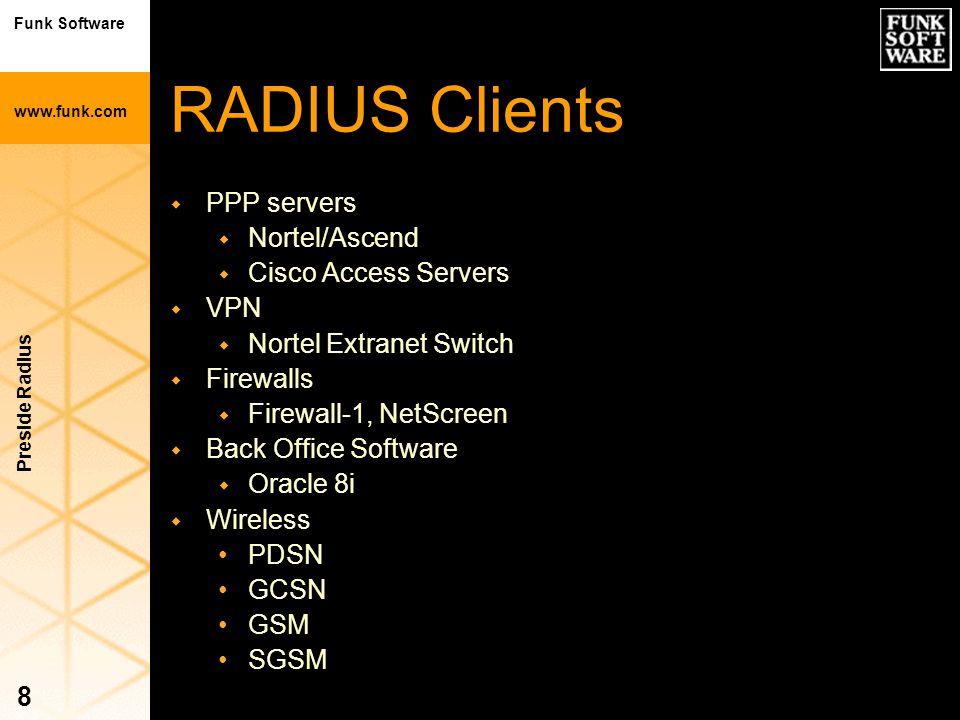 Funk Software www.funk.com Preside Radius 8 RADIUS Clients w PPP servers w Nortel/Ascend w Cisco Access Servers w VPN w Nortel Extranet Switch w Firew