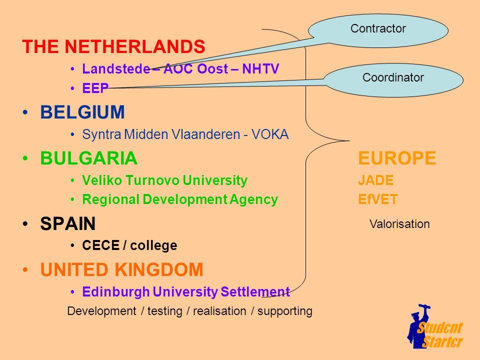 THE NETHERLANDS Landstede – AOC Oost – NHTV EEP BELGIUM Syntra Midden Vlaanderen - VOKA BULGARIA EUROPE Veliko Turnovo University JADE Regional Develo