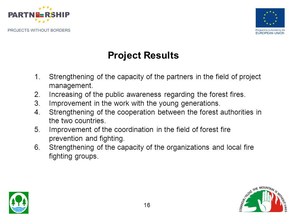 1.Strengthening of the capacity of the partners in the field of project management. 2.Increasing of the public awareness regarding the forest fires. 3
