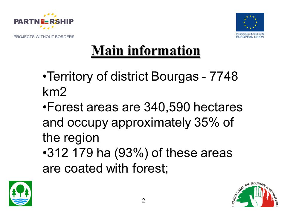 Main information Territory of district Bourgas - 7748 km2 Forest areas are 340,590 hectares and occupy approximately 35% of the region 312 179 ha (93%) of these areas are coated with forest; 2