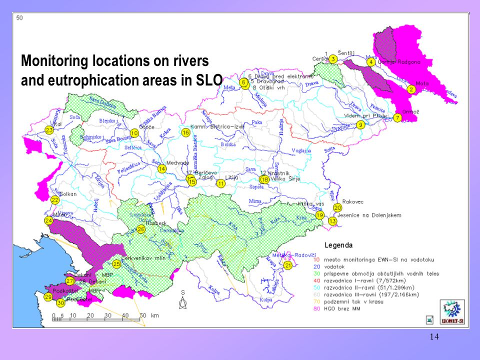 14 Monitoring locations on rivers and eutrophication areas in SLO