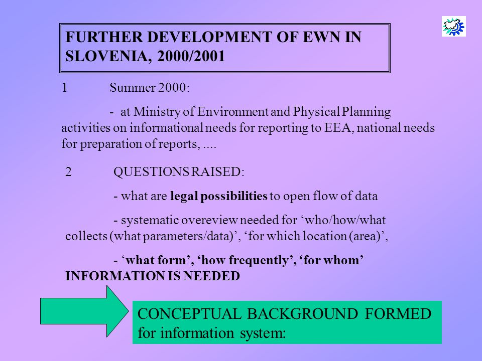 4 FURTHER DEVELOPMENT OF EWN IN SLOVENIA, 2000/2001 1Summer 2000: - at Ministry of Environment and Physical Planning activities on informational needs