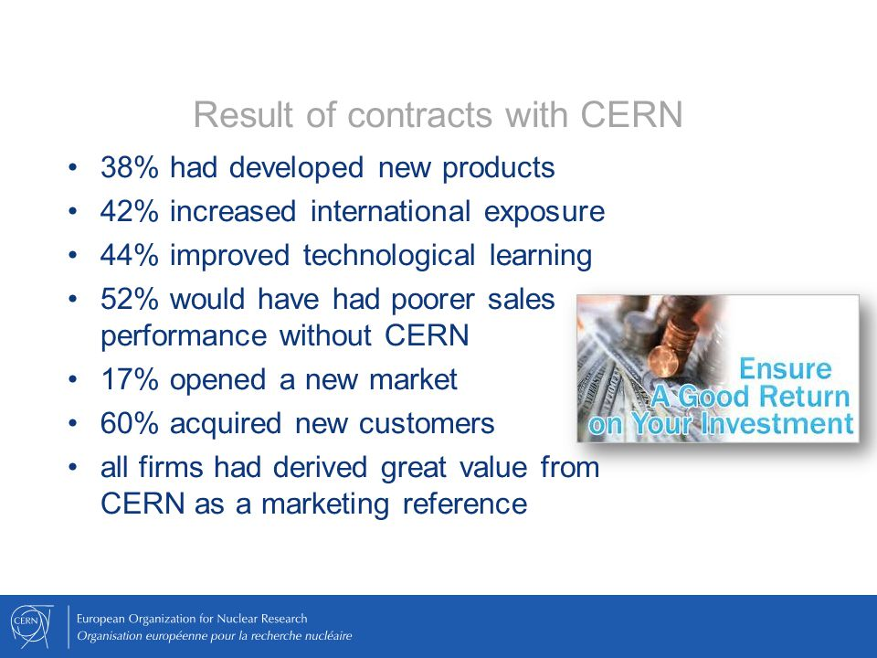 Result of contracts with CERN 38% had developed new products 42% increased international exposure 44% improved technological learning 52% would have h