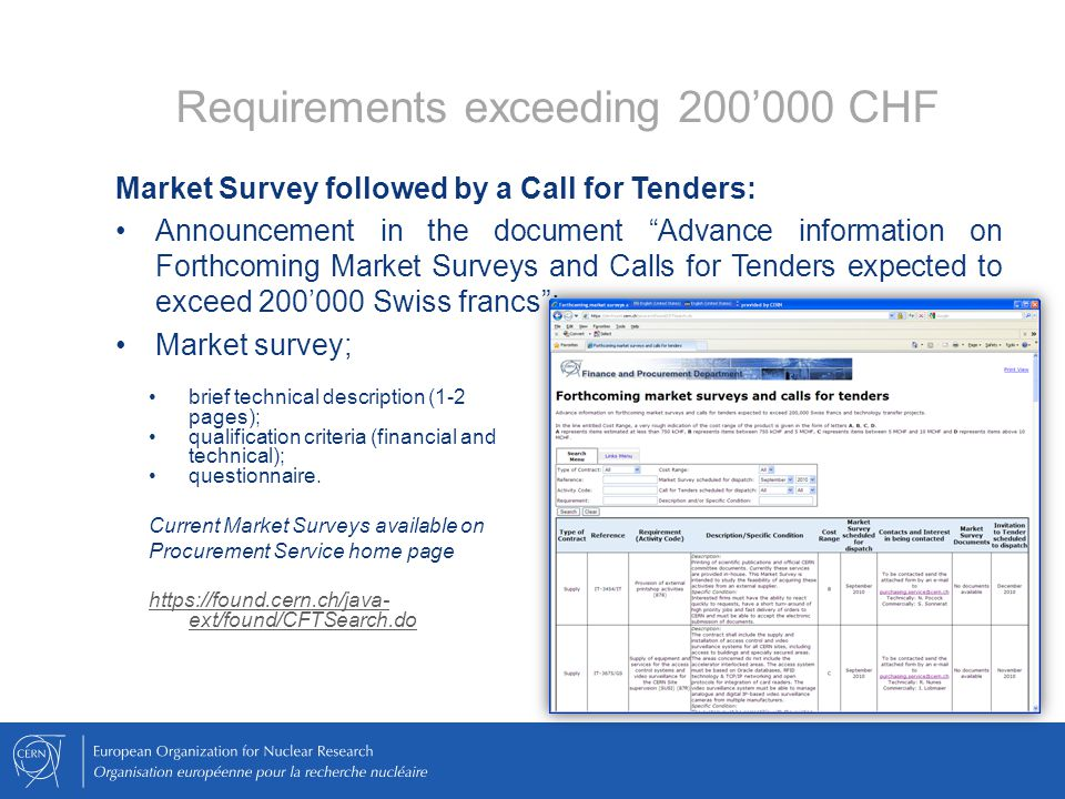 Requirements exceeding 200'000 CHF Market Survey followed by a Call for Tenders: Announcement in the document Advance information on Forthcoming Market Surveys and Calls for Tenders expected to exceed 200'000 Swiss francs ; Market survey; brief technical description (1-2 pages); qualification criteria (financial and technical); questionnaire.