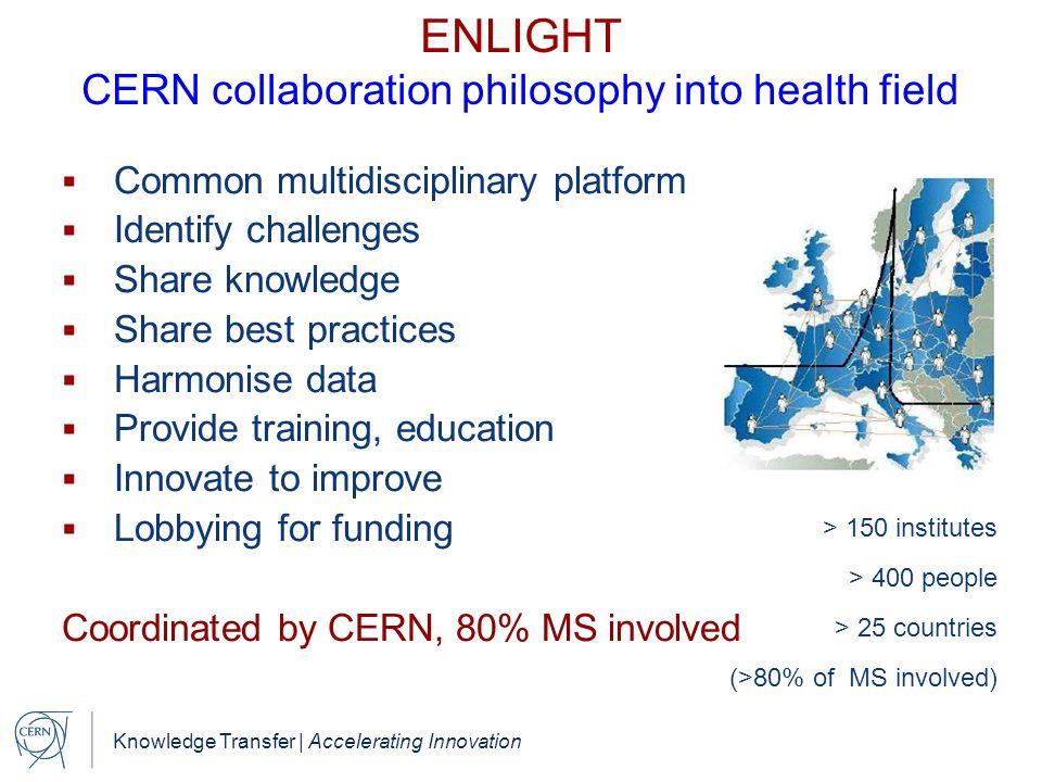 Knowledge Transfer | Accelerating Innovation ENLIGHT CERN collaboration philosophy into health field  Common multidisciplinary platform  Identify ch