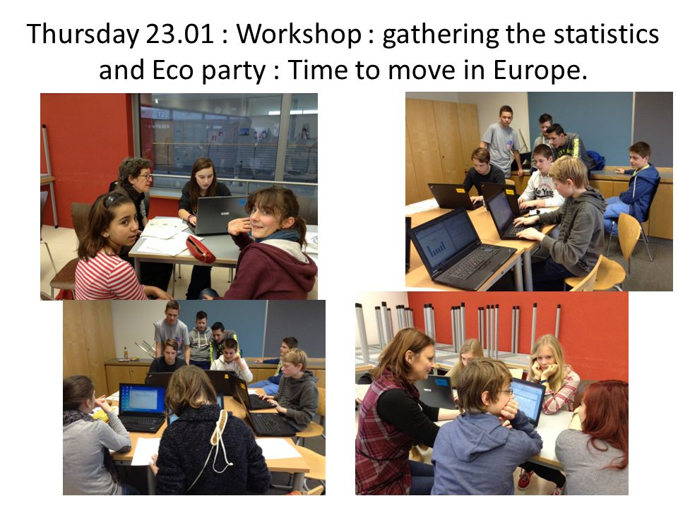 Thursday 23.01 : Workshop : gathering the statistics and Eco party : Time to move in Europe.
