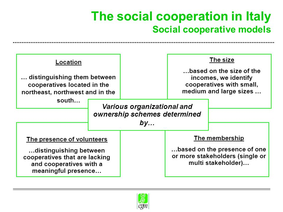The social cooperation in Italy Social cooperative models Various organizational and ownership schemes determined by… The presence of volunteers …distinguishing between cooperatives that are lacking and cooperatives with a meaningful presence… The size …based on the size of the incomes, we identify cooperatives with small, medium and large sizes … The membership …based on the presence of one or more stakeholders (single or multi stakeholder)… Location … distinguishing them between cooperatives located in the northeast, northwest and in the south…