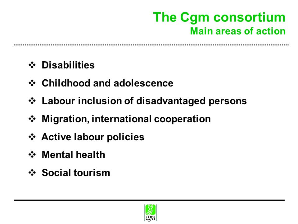 The Cgm consortium Main areas of action  Disabilities  Childhood and adolescence  Labour inclusion of disadvantaged persons  Migration, international cooperation  Active labour policies  Mental health  Social tourism