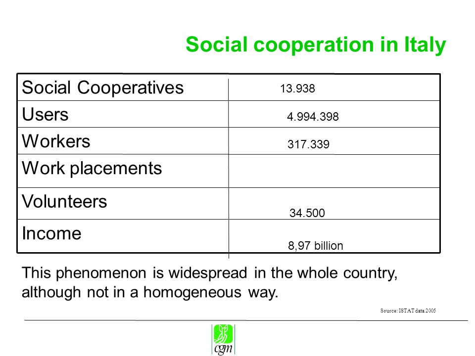 Social cooperation in Italy Volunteers Work placements Income Workers Users Social Cooperatives This phenomenon is widespread in the whole country, although not in a homogeneous way.